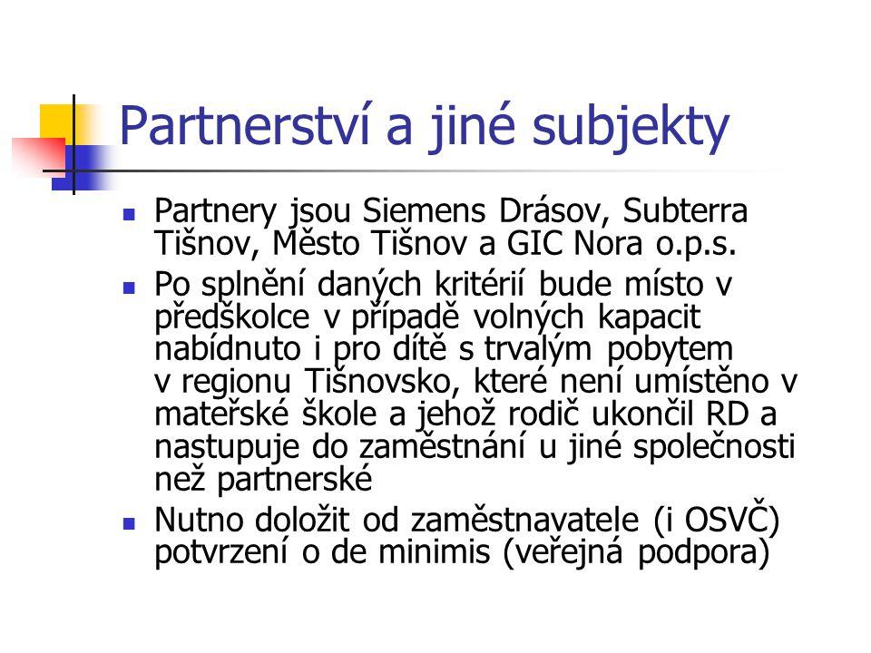 Partnerství a jiné subjekty Partnery jsou Siemens Drásov, Subterra Tišnov, Město Tišnov a GIC Nora o.p.s. Po splnění daných kritérií bude místo v před