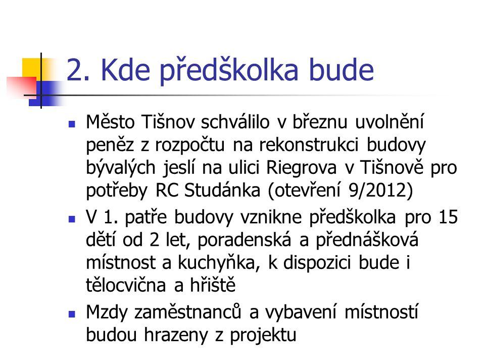 2. Kde předškolka bude Město Tišnov schválilo v březnu uvolnění peněz z rozpočtu na rekonstrukci budovy bývalých jeslí na ulici Riegrova v Tišnově pro