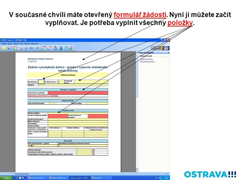 V současné chvíli máte otevřený formulář žádosti. Nyní ji můžete začít vyplňovat. Je potřeba vyplnit všechny položky.