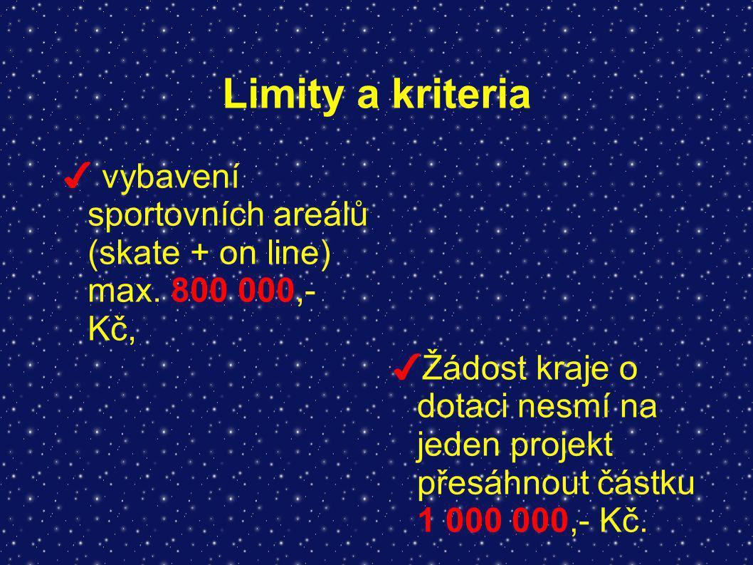 Limity a kriteria ✔ vybavení sportovních areálů (skate + on line) max. 800 000,- Kč, ✔ Žádost kraje o dotaci nesmí na jeden projekt přesáhnout částku