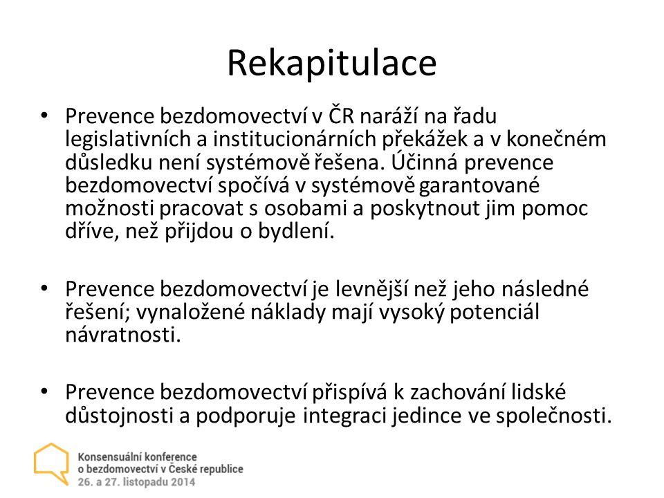 Rekapitulace Prevence bezdomovectví v ČR naráží na řadu legislativních a institucionárních překážek a v konečném důsledku není systémově řešena.