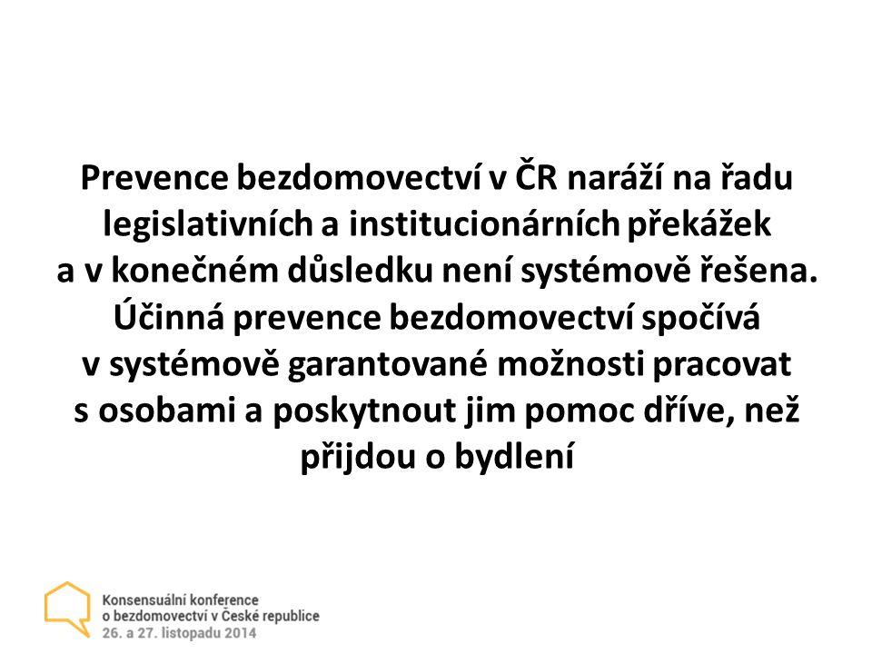 Prevence bezdomovectví v ČR naráží na řadu legislativních a institucionárních překážek a v konečném důsledku není systémově řešena.