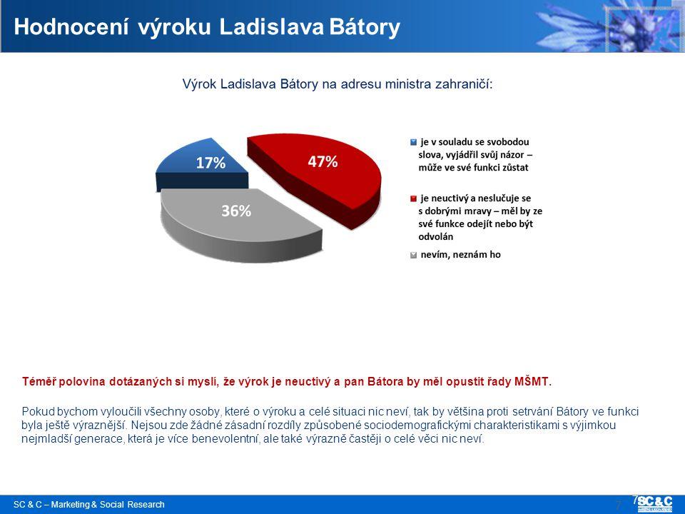SC & C – Marketing & Social Research 7 Hodnocení výroku Ladislava Bátory Téměř polovina dotázaných si myslí, že výrok je neuctivý a pan Bátora by měl opustit řady MŠMT.