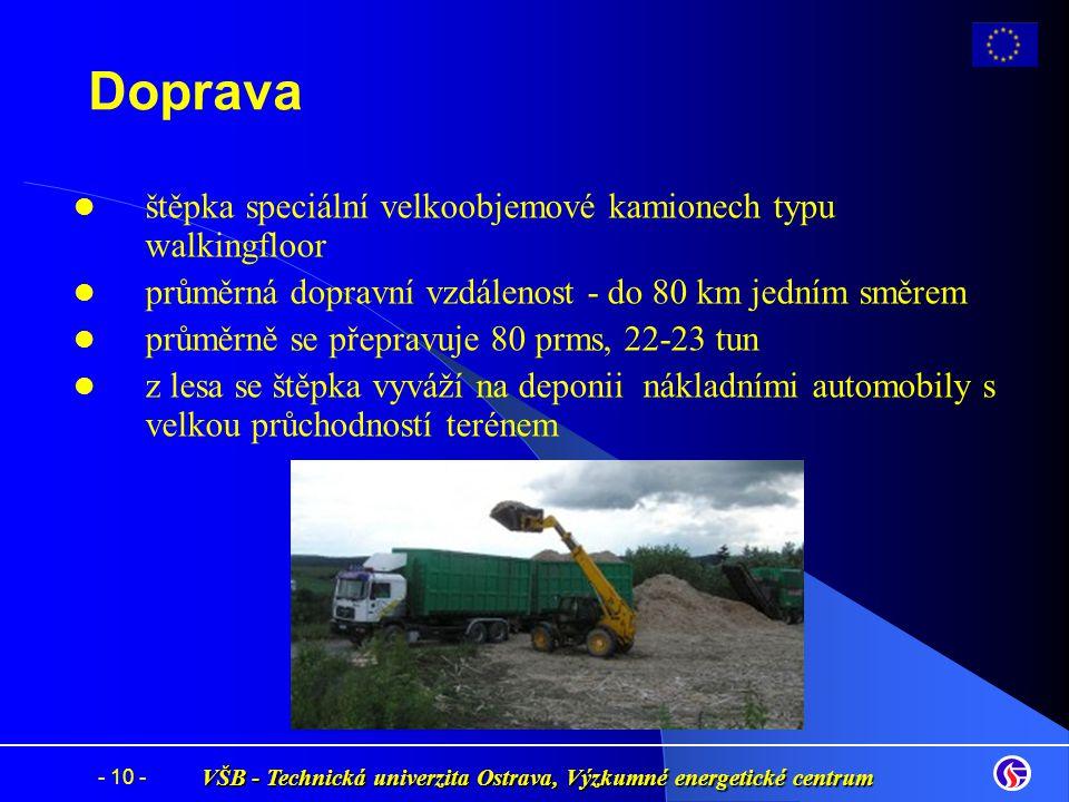 VŠB - Technická univerzita Ostrava, Výzkumné energetické centrum - 10 - Doprava štěpka speciální velkoobjemové kamionech typu walkingfloor průměrná do