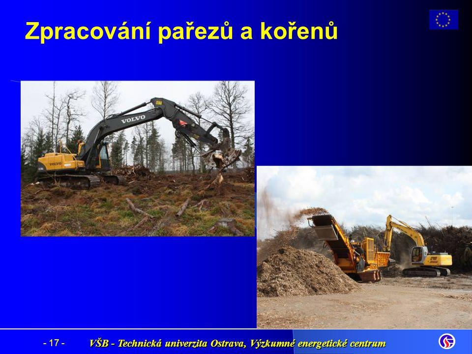 VŠB - Technická univerzita Ostrava, Výzkumné energetické centrum - 17 - Zpracování pařezů a kořenů