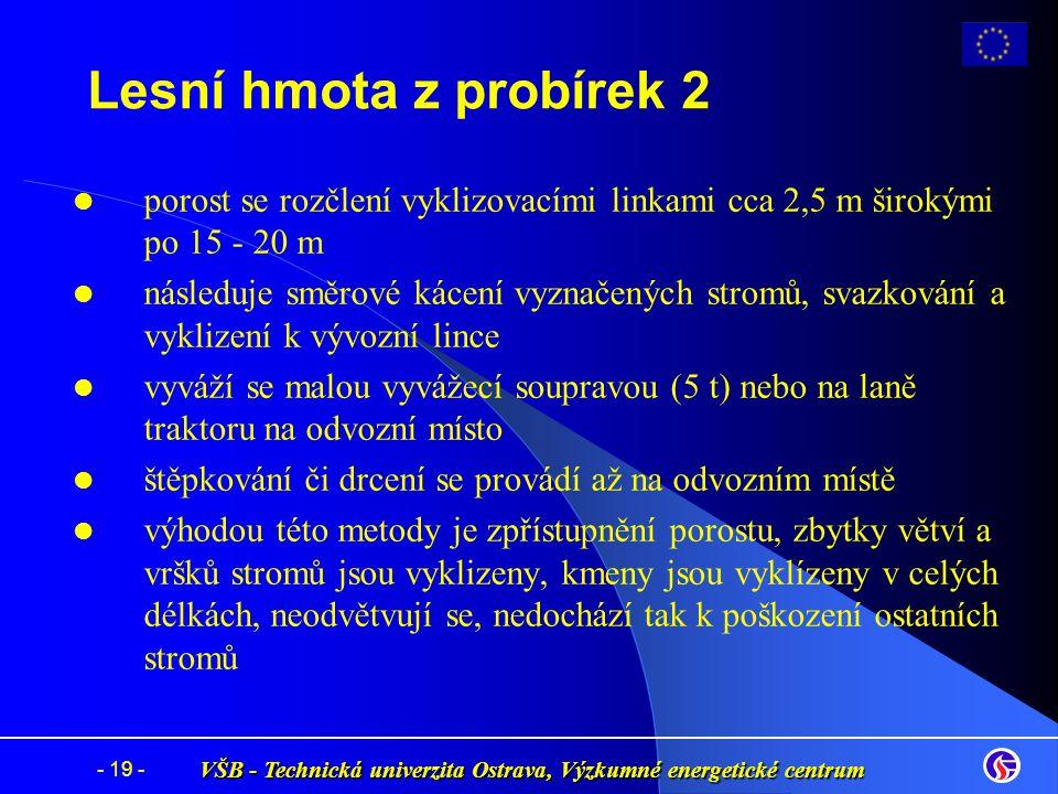 VŠB - Technická univerzita Ostrava, Výzkumné energetické centrum - 19 - porost se rozčlení vyklizovacími linkami cca 2,5 m širokými po 15 - 20 m násle