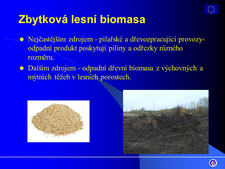 Zbytková lesní biomasa Nejčastějším zdrojem - pilařské a dřevozpracující provozy- odpadní produkt poskytují piliny a odřezky různého rozměru. Dalším z