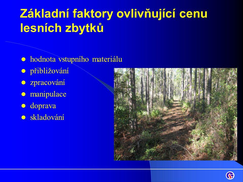 Základní faktory ovlivňující cenu lesních zbytků hodnota vstupního materiálu přibližování zpracování manipulace doprava skladování