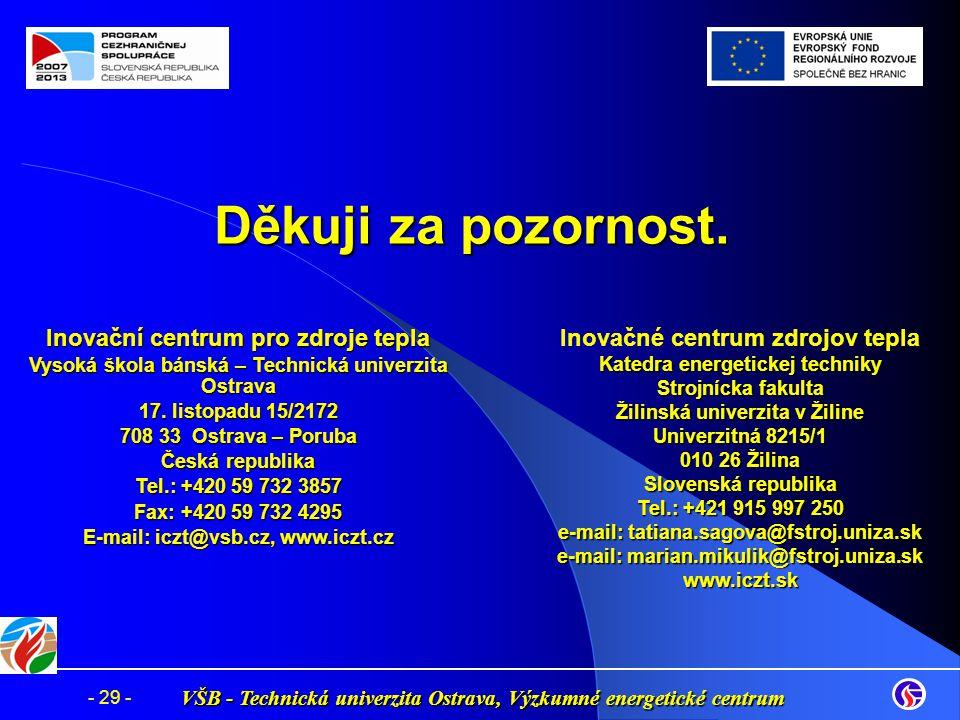 VŠB - Technická univerzita Ostrava, Výzkumné energetické centrum - 29 - Děkuji za pozornost. Inovační centrum pro zdroje tepla Vysoká škola bánská – T