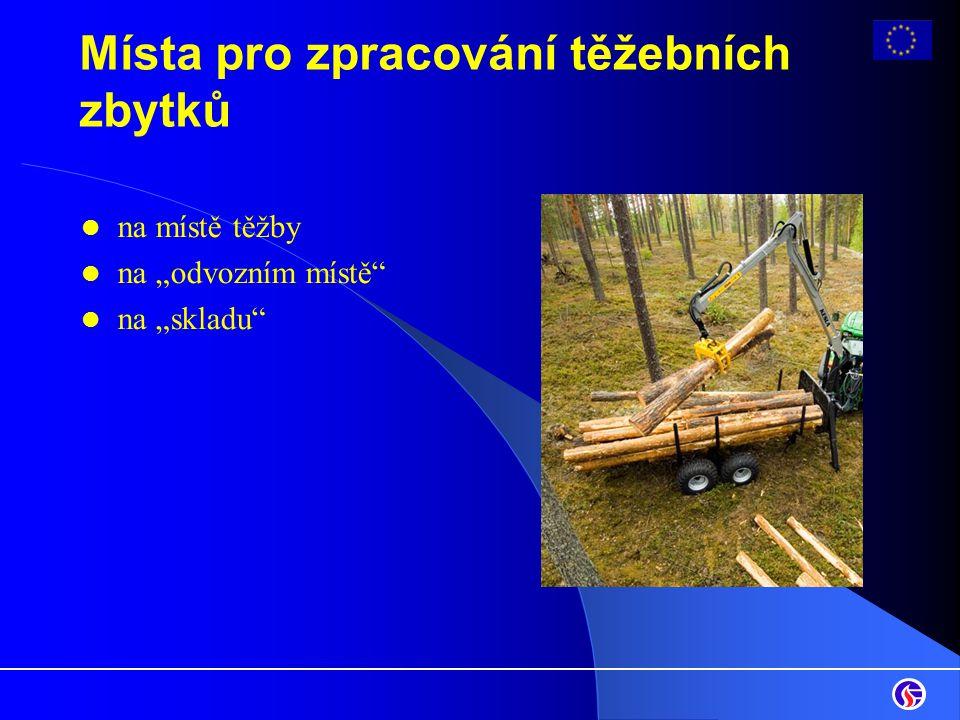 """Místa pro zpracování těžebních zbytků na místě těžby na """"odvozním místě"""" na """"skladu"""""""