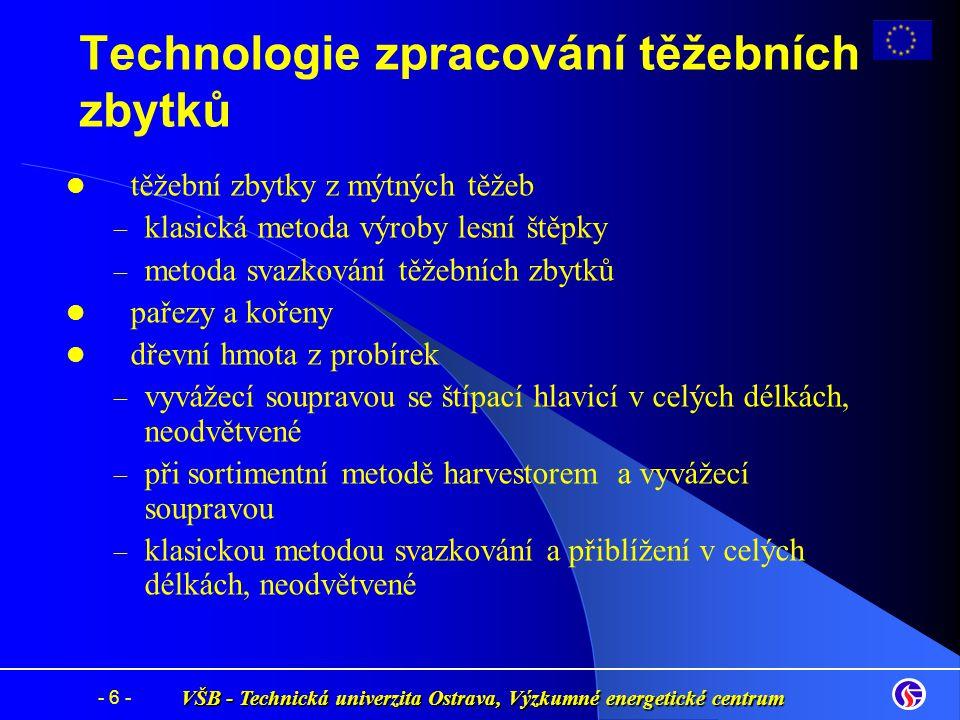 VŠB - Technická univerzita Ostrava, Výzkumné energetické centrum - 6 - Technologie zpracování těžebních zbytků těžební zbytky z mýtných těžeb – – klas