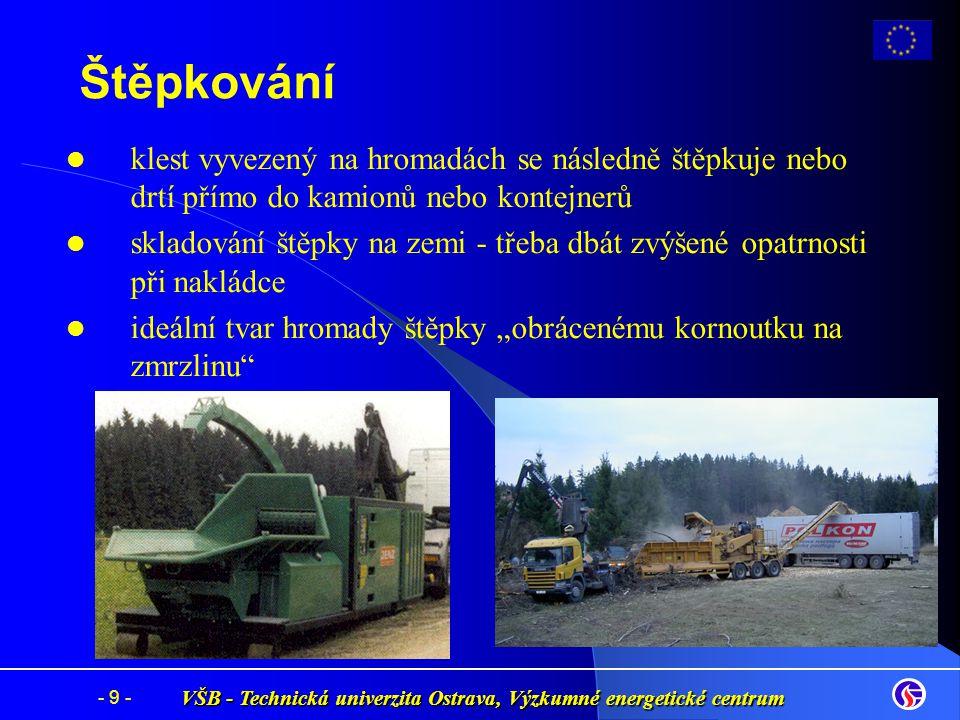 VŠB - Technická univerzita Ostrava, Výzkumné energetické centrum - 9 - Štěpkování klest vyvezený na hromadách se následně štěpkuje nebo drtí přímo do