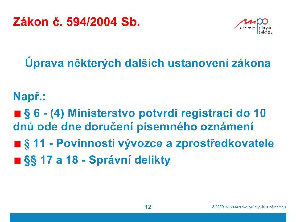  2009  Ministerstvo průmyslu a obchodu 12 Zákon č. 594/2004 Sb. Úprava některých dalších ustanovení zákona Např.: § 6 - (4) Ministerstvo potvrdí re