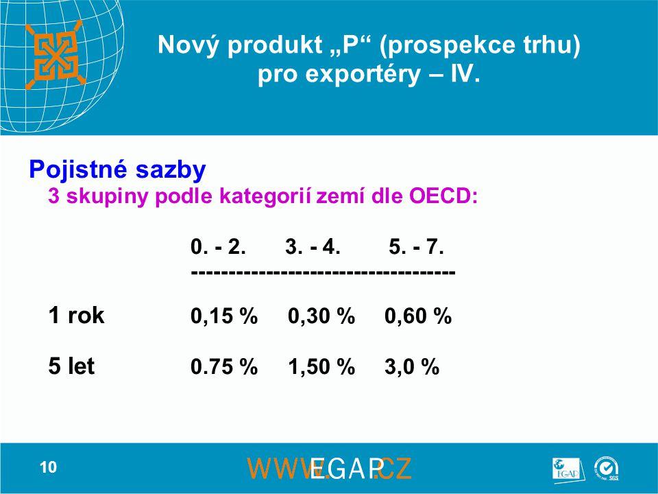 """10 Nový produkt """"P"""" (prospekce trhu) pro exportéry – IV. Pojistné sazby 3 skupiny podle kategorií zemí dle OECD: 0. - 2. 3. - 4. 5. - 7. -------------"""