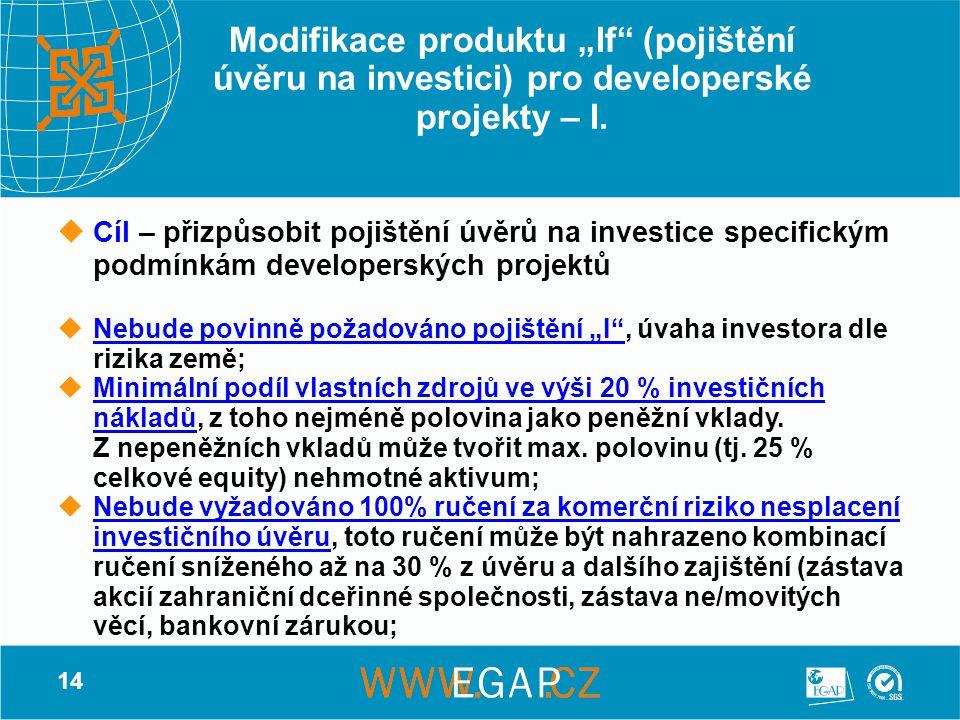 """14 Modifikace produktu """"If"""" (pojištění úvěru na investici) pro developerské projekty – I.  Cíl – přizpůsobit pojištění úvěrů na investice specifickým"""