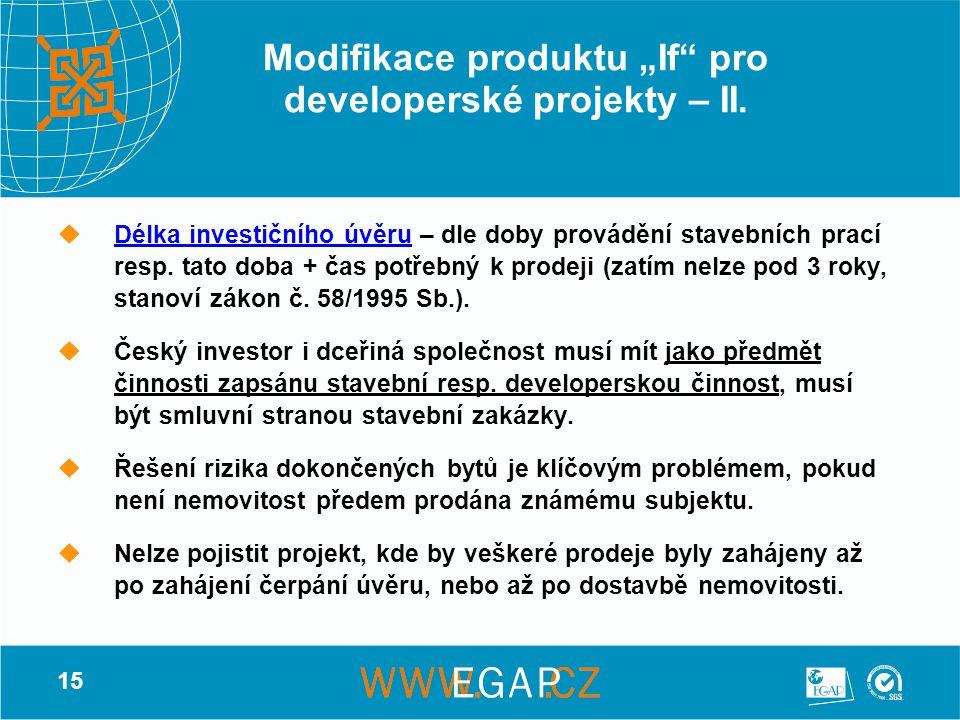 """15 Modifikace produktu """"If"""" pro developerské projekty – II.  Délka investičního úvěru – dle doby provádění stavebních prací resp. tato doba + čas pot"""