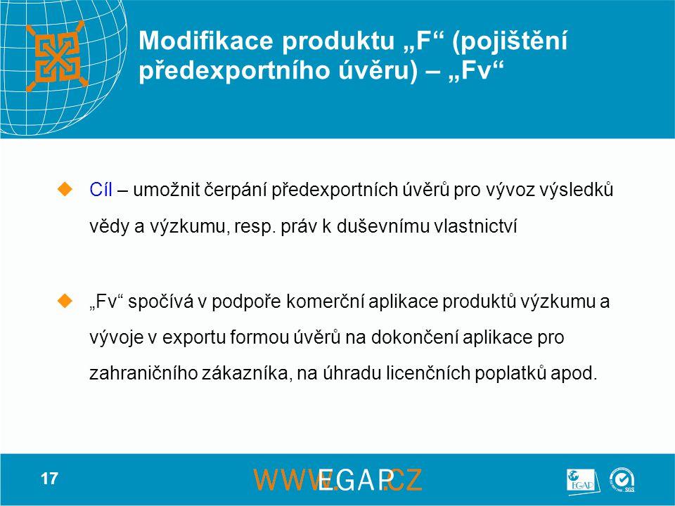 """17 Modifikace produktu """"F"""" (pojištění předexportního úvěru) – """"Fv""""  Cíl – umožnit čerpání předexportních úvěrů pro vývoz výsledků vědy a výzkumu, res"""
