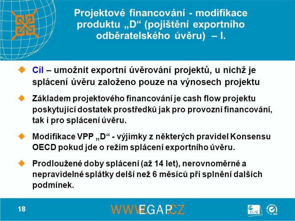 """18 Projektové financování - modifikace produktu """"D"""" (pojištění exportního odběratelského úvěru) – I. CCíl – umožnit exportní úvěrování projektů, u n"""