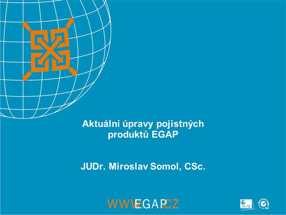 3 Reakce EGAP na hospodářskou a finanční krizi Výchozí situace pro změny – finanční a hospodářská krize Složitá situace výrobců a exportérů – obtížné získání provozního financování, exportních úvěrů, odbytové problémy Výraznější pokles exportu od října 2008 V této situaci vzrůstá význam exportního a investičního pojištění se státní podporou Vláda – posílení ČEB a EGAP, aby více podpořily export EGAP má dostatečné kapacity na vyšší objemy pojištění připravil řadu výrazných zlepšení podmínek pojištění