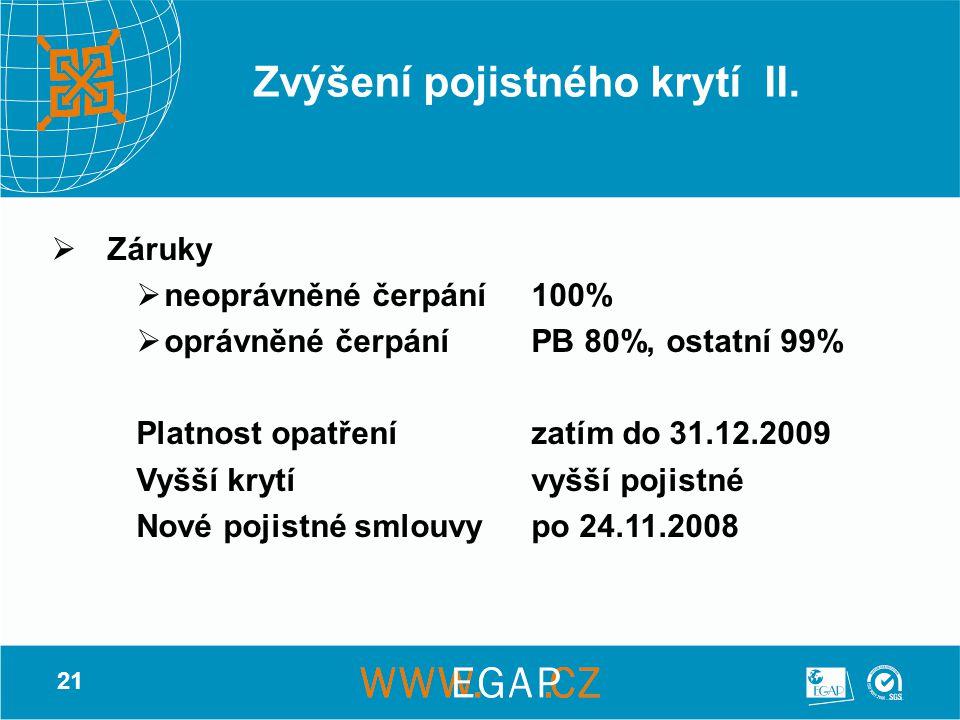21 Zvýšení pojistného krytí II.  Záruky  neoprávněné čerpání100%  oprávněné čerpáníPB 80%, ostatní 99% Platnost opatřenízatím do 31.12.2009 Vyšší k