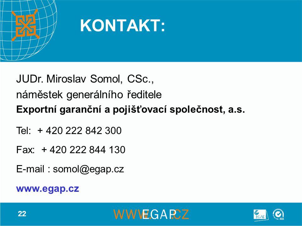 22 KONTAKT: JUDr. Miroslav Somol, CSc., náměstek generálního ředitele Exportní garanční a pojišťovací společnost, a.s. Tel: + 420 222 842 300 Fax: + 4