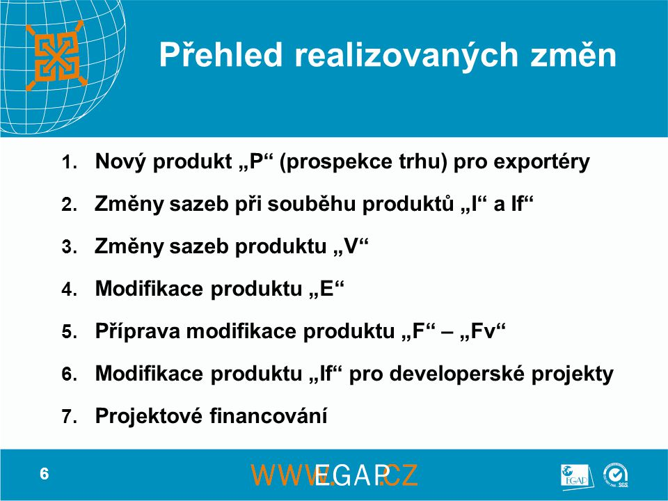 """6 Přehled realizovaných změn 1. Nový produkt """"P"""" (prospekce trhu) pro exportéry 2. Změny sazeb při souběhu produktů """"I"""" a If"""" 3. Změny sazeb produktu"""