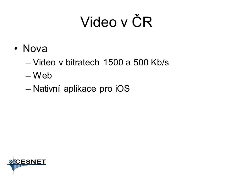 Video v ČR Nova –Video v bitratech 1500 a 500 Kb/s –Web –Nativní aplikace pro iOS