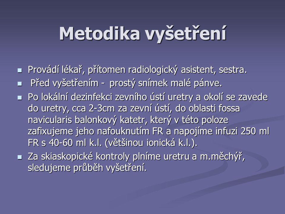 Metodika vyšetření Provádí lékař, přítomen radiologický asistent, sestra.
