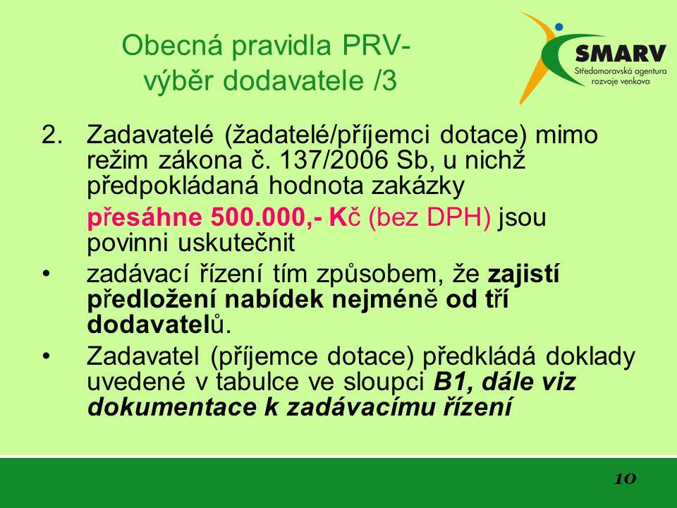 10 Obecná pravidla PRV- výběr dodavatele /3 2.Zadavatelé (žadatelé/příjemci dotace) mimo režim zákona č.