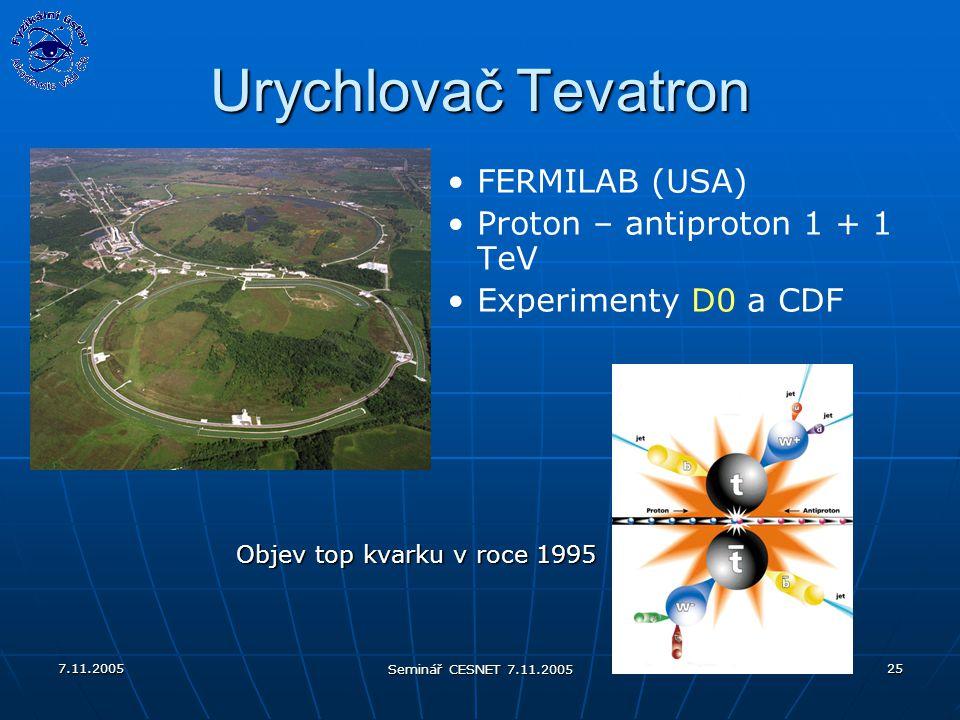 7.11.2005 Seminář CESNET 7.11.2005 25 Urychlovač Tevatron FERMILAB (USA) Proton – antiproton 1 + 1 TeV Experimenty D0 a CDF Objev top kvarku v roce 1995