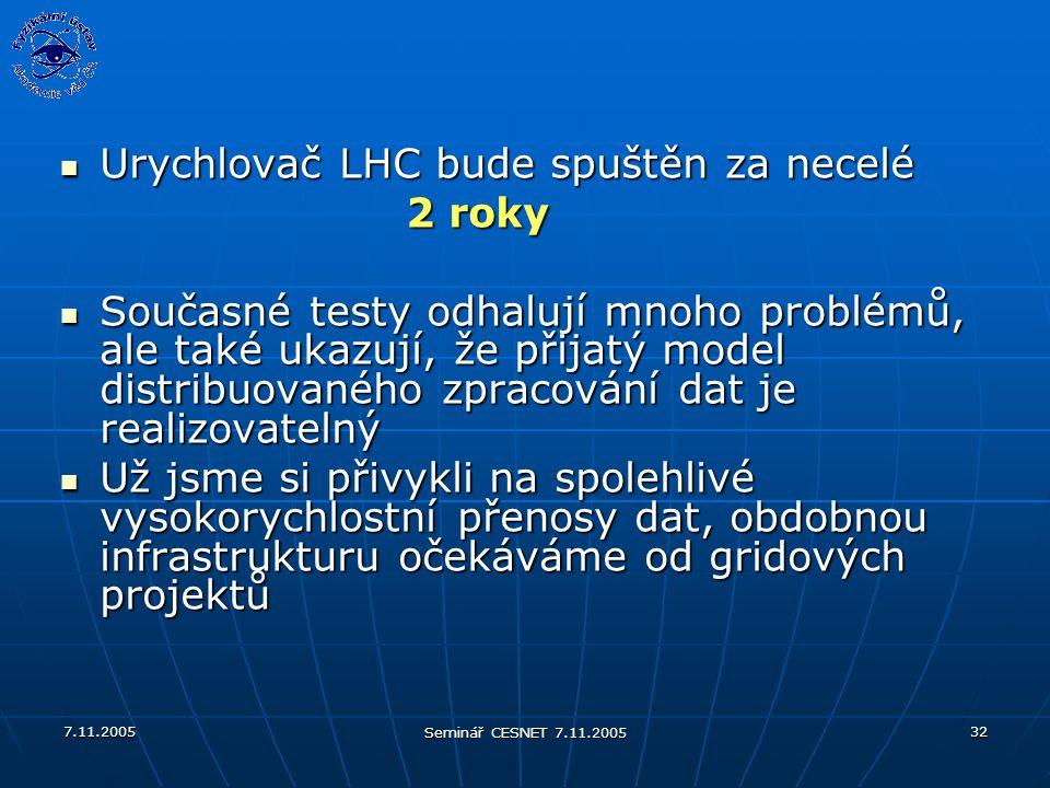 7.11.2005 Seminář CESNET 7.11.2005 32 Urychlovač LHC bude spuštěn za necelé Urychlovač LHC bude spuštěn za necelé 2 roky 2 roky Současné testy odhalují mnoho problémů, ale také ukazují, že přijatý model distribuovaného zpracování dat je realizovatelný Současné testy odhalují mnoho problémů, ale také ukazují, že přijatý model distribuovaného zpracování dat je realizovatelný Už jsme si přivykli na spolehlivé vysokorychlostní přenosy dat, obdobnou infrastrukturu očekáváme od gridových projektů Už jsme si přivykli na spolehlivé vysokorychlostní přenosy dat, obdobnou infrastrukturu očekáváme od gridových projektů