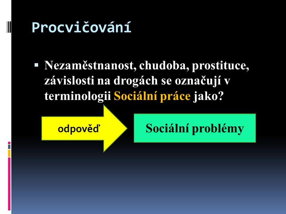 Procvičování  Nezaměstnanost, chudoba, prostituce, závislosti na drogách se označují v terminologii Sociální práce jako.