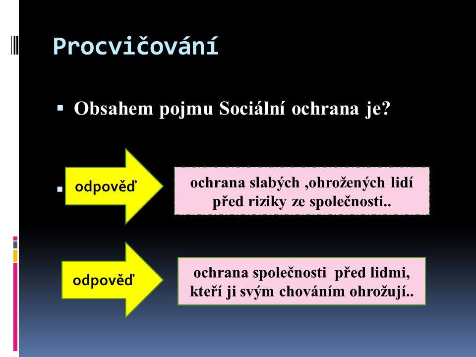 Procvičování  Obsahem pojmu Sociální ochrana je.