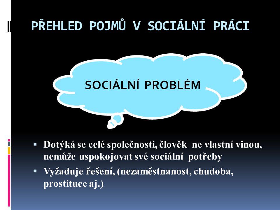 PŘEHLED POJMŮ V SOCIÁLNÍ PRÁCI  Dotýká se celé společnosti, člověk ne vlastní vinou, nemůže uspokojovat své sociální potřeby  Vyžaduje řešení, (nezaměstnanost, chudoba, prostituce aj.) SOCIÁLNÍ PROBLÉM