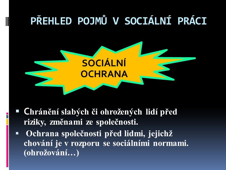 PŘEHLED POJMŮ V SOCIÁLNÍ PRÁCI  Je to opora člověku ve svízelné životní situaci, kterou sám nezvládá…  Uskutečňuje se formou finanční výpomoci a nabízením sociálních služeb … SOCIÁLNÍ POMOC