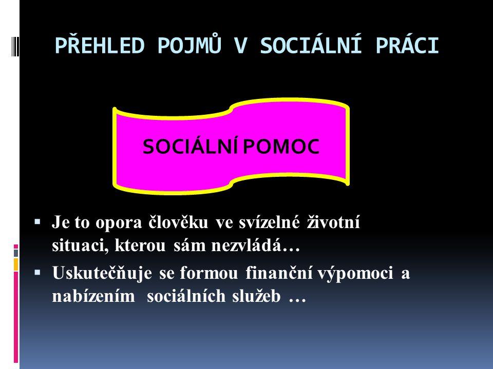 PŘEHLED POJMŮ V SOCIÁLNÍ PRÁCI Poskytují sociální pomoc, finanční dávky lidem, kteří se ocitli v sociálním problému.