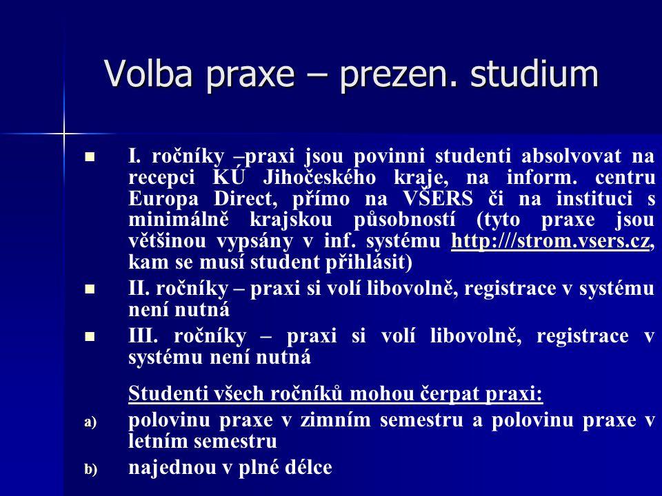 Volba praxe – prezen. studium I. ročníky –praxi jsou povinni studenti absolvovat na recepci KÚ Jihočeského kraje, na inform. centru Europa Direct, pří