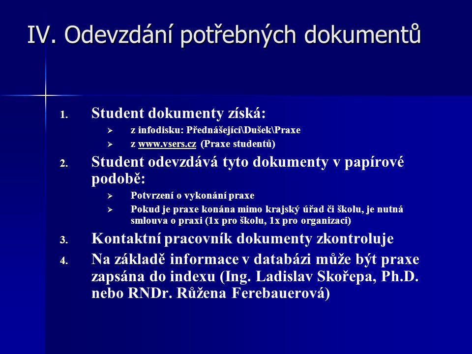 IV. Odevzdání potřebných dokumentů IV. Odevzdání potřebných dokumentů 1. 1. Student dokumenty získá:   z infodisku: Přednášející\Dušek\Praxe   z w