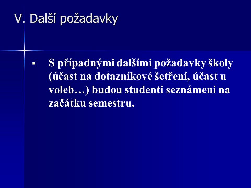 V. Další požadavky V. Další požadavky   S případnými dalšími požadavky školy (účast na dotazníkové šetření, účast u voleb…) budou studenti seznámeni