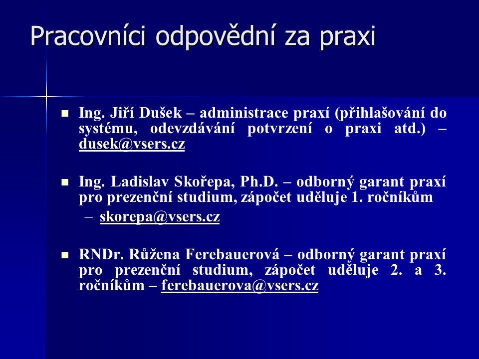 Pracovníci odpovědní za praxi Pracovníci odpovědní za praxi Ing. Jiří Dušek – administrace praxí (přihlašování do systému, odevzdávání potvrzení o pra