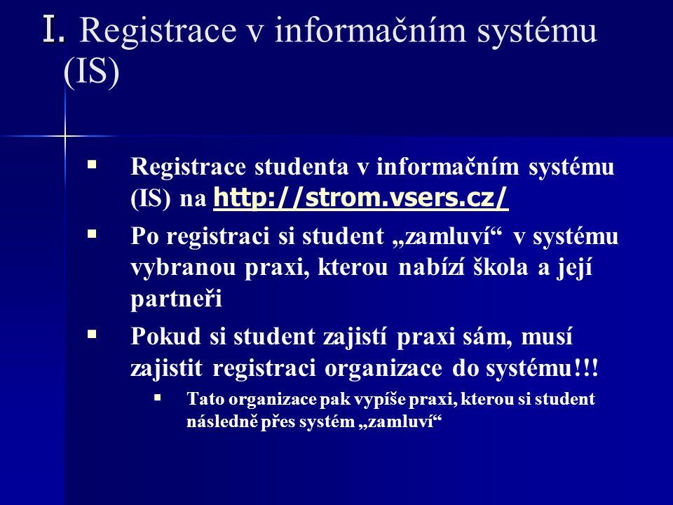 I. I. Registrace v informačním systému (IS)   Registrace studenta v informačním systému (IS) na http://strom.vsers.cz/ http://strom.vsers.cz/   Po