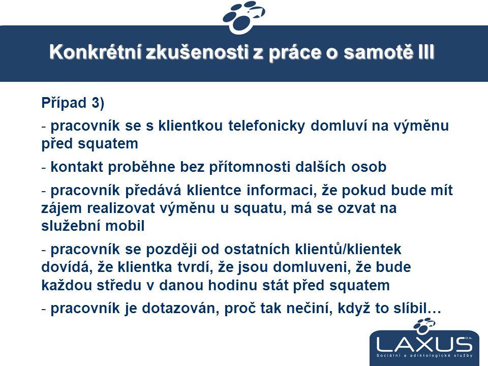 Konkrétní zkušenosti z práce o samotě III Případ 3) - pracovník se s klientkou telefonicky domluví na výměnu před squatem - kontakt proběhne bez příto