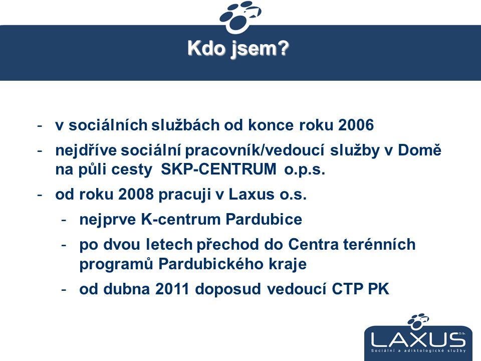 Kdo jsem? -v sociálních službách od konce roku 2006 -nejdříve sociální pracovník/vedoucí služby v Domě na půli cesty SKP-CENTRUM o.p.s. -od roku 2008
