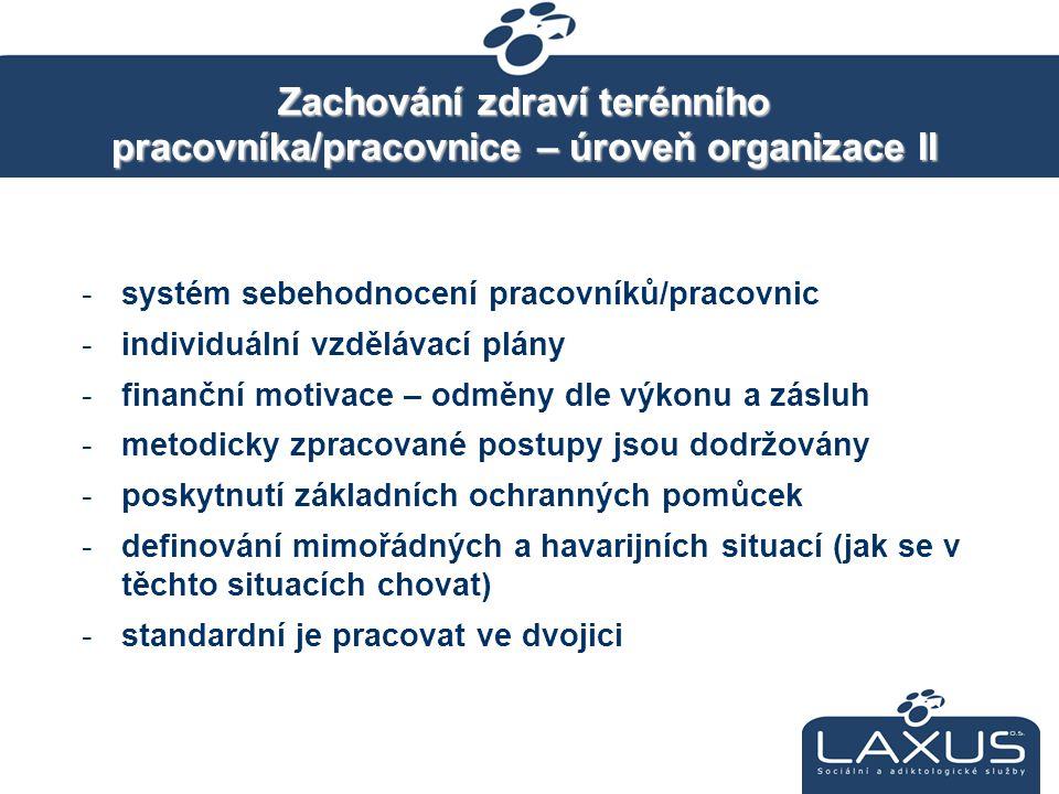 Zachování zdraví terénního pracovníka/pracovnice – úroveň organizace II -systém sebehodnocení pracovníků/pracovnic -individuální vzdělávací plány -fin