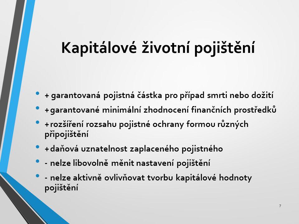Kapitálové životní pojištění 7 + garantovaná pojistná částka pro případ smrti nebo dožití +garantované minimální zhodnocení finančních prostředků +rozšíření rozsahu pojistné ochrany formou různých připojištění +daňová uznatelnost zaplaceného pojistného -nelze libovolně měnit nastavení pojištění -nelze aktivně ovlivňovat tvorbu kapitálové hodnoty pojištění