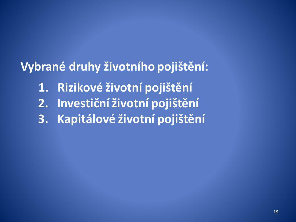 Vybrané druhy životního pojištění: 1.Rizikové životní pojištění 2.