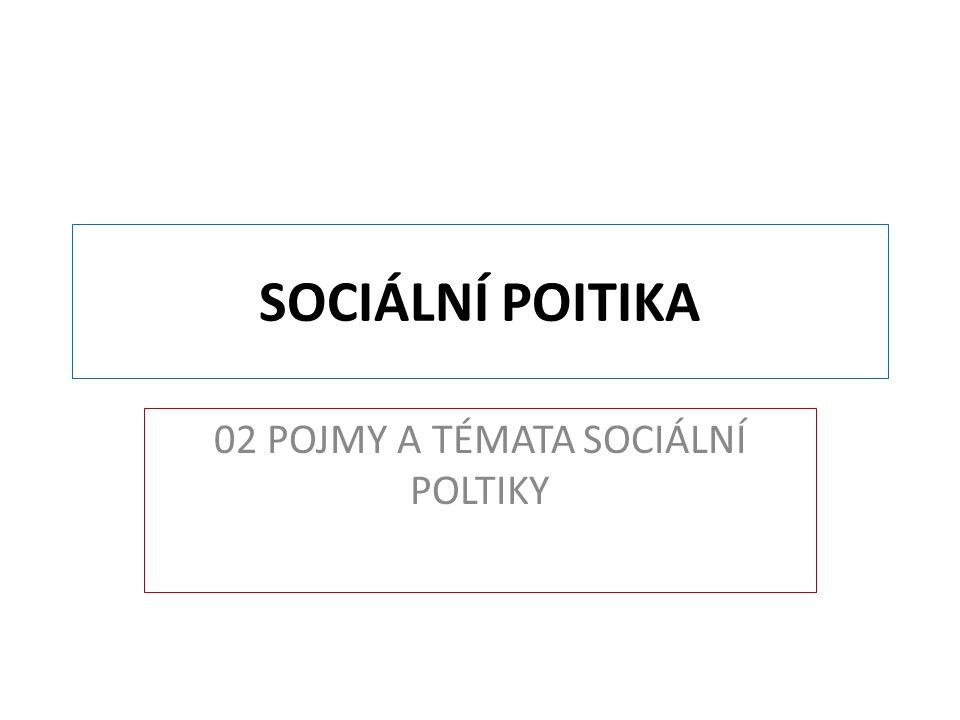 SOCIÁLNÍ POITIKA 02 POJMY A TÉMATA SOCIÁLNÍ POLTIKY