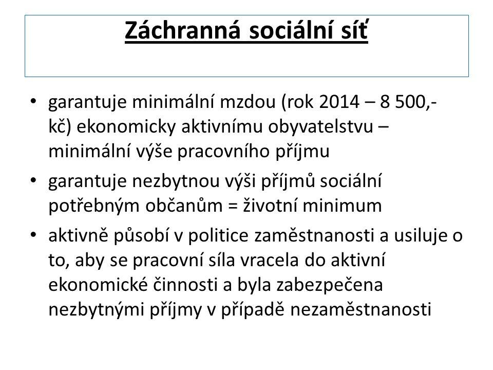 Záchranná sociální síť garantuje minimální mzdou (rok 2014 – 8 500,- kč) ekonomicky aktivnímu obyvatelstvu – minimální výše pracovního příjmu garantuje nezbytnou výši příjmů sociální potřebným občanům = životní minimum aktivně působí v politice zaměstnanosti a usiluje o to, aby se pracovní síla vracela do aktivní ekonomické činnosti a byla zabezpečena nezbytnými příjmy v případě nezaměstnanosti
