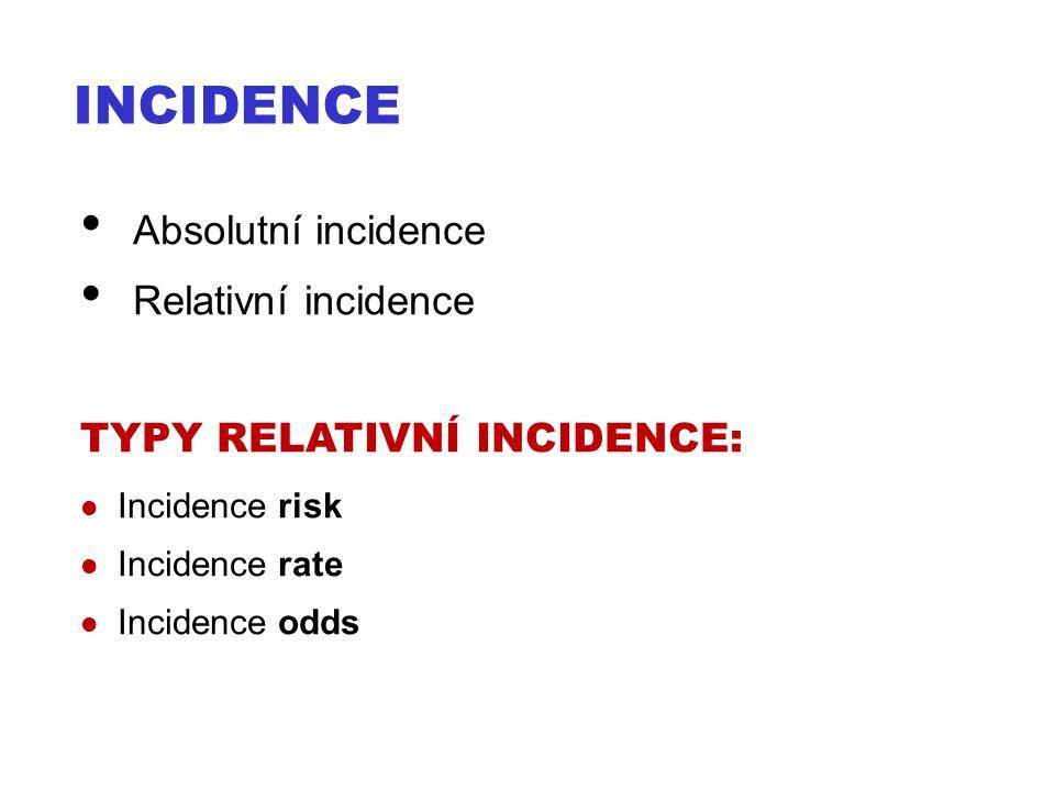 INCIDENCE Absolutní incidence Relativní incidence TYPY RELATIVNÍ INCIDENCE: Incidence risk Incidence rate Incidence odds