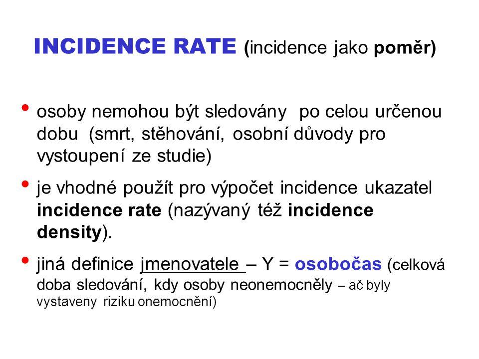 INCIDENCE RATE (incidence jako poměr) osoby nemohou být sledovány po celou určenou dobu (smrt, stěhování, osobní důvody pro vystoupení ze studie) je v